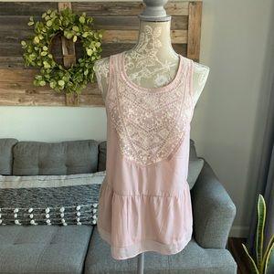 AE Sleeveless Boho Crochet Lace Babydoll Top